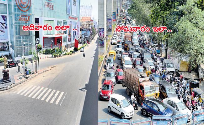 People Ignore Janata Curfew in Hyderabad - Sakshi
