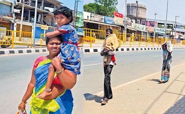 People Going To Their Village By Walking Due To Coronavirus - Sakshi