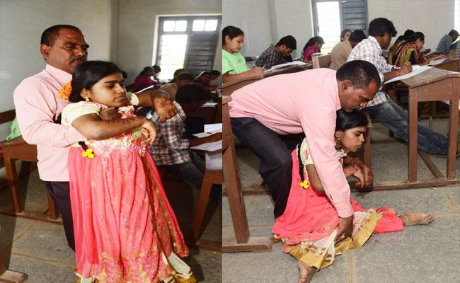 Father Came With Daughter And Attended Open Degree Exam In Adilabad - Sakshi