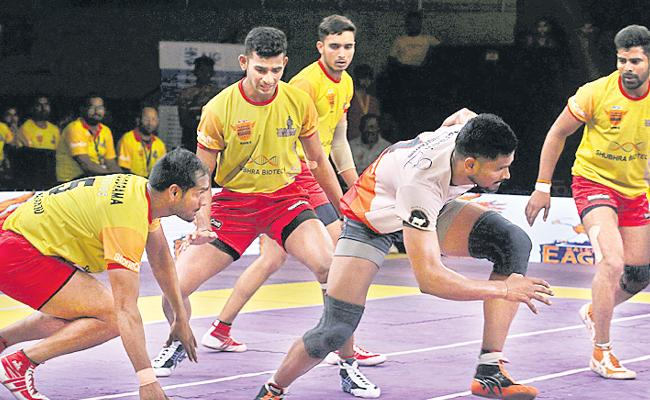 Eagles Topple Warriors With Ease In Telangana Kabaddi League - Sakshi