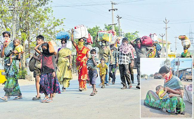 637 Kilometers On Foot; Labourers Ballarii To Bhadradri - Sakshi