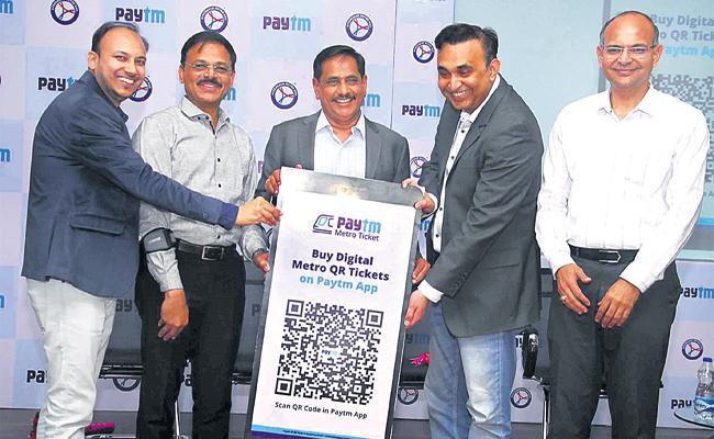 Hyderabad Metro Train Paytm QR Code Ticket Launch For Easy Journey - Sakshi