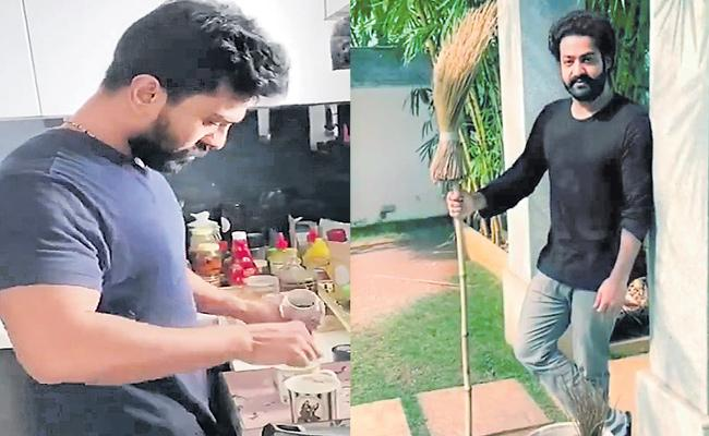 NTR And Ram Charan Done The Be The Real Men Challenge - Sakshi