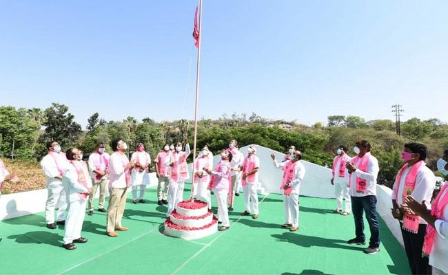 TRS Formation Day: CM KCR Hoist Party Flag at Telangana Bhavan - Sakshi