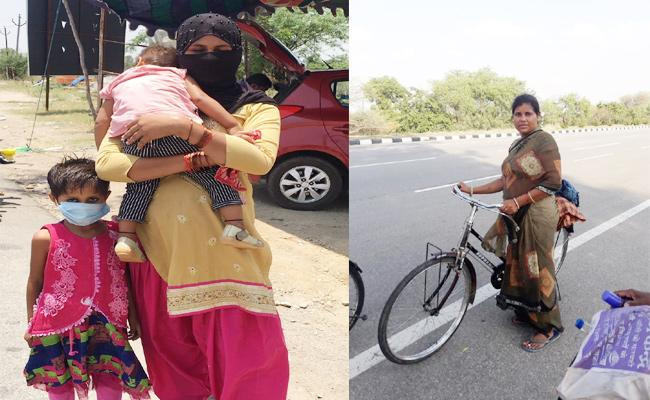 Migrant Workers Mother And Child Walk Hyderabad to UP - Sakshi