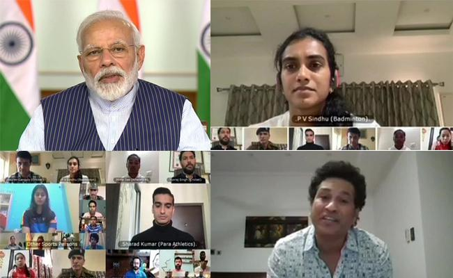PM Modi Hold Video Conference With Sourav Ganguly And Virat - Sakshi