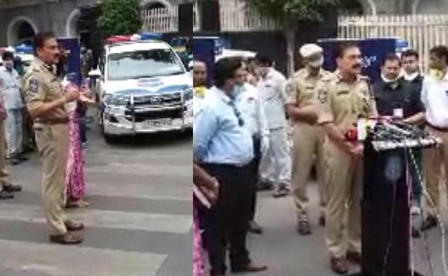 CP Anjani Kumar Inaugurated Patrolling Sanitising Vehicles In Hyderabad - Sakshi