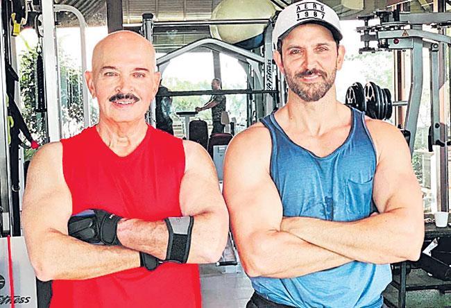 Hrithik shares father Rakesh Roshans workout video - Sakshi