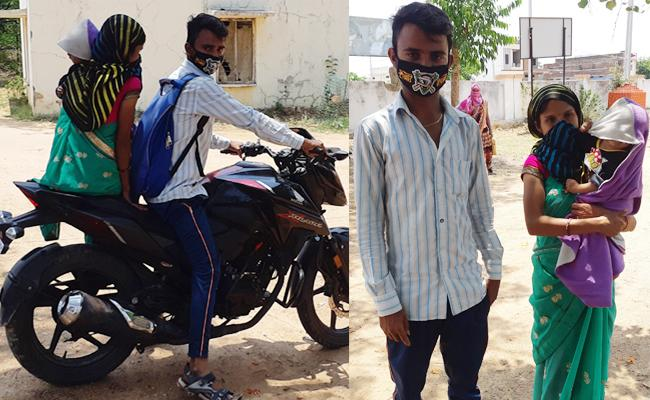 Couple Ride Bike From Pune to Jogulamba With Baby - Sakshi