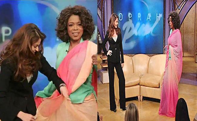 Aishwarya Rai Draped The Saree On Oprah - Sakshi