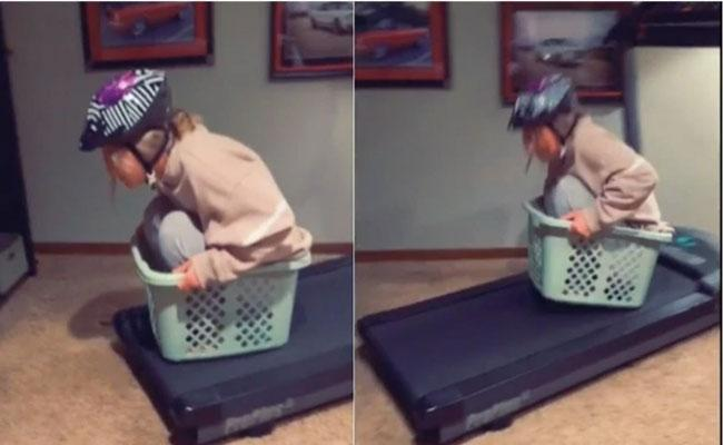 Watch Video How Woman Plays Mario Kart At Home Using Treadmill And Basket - Sakshi