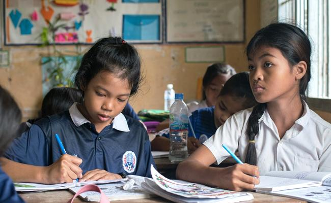 Cambodian Teacher Drives  about 20 km  To Teach His Students  - Sakshi