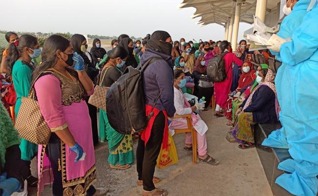 Andhra Pradesh People Reached To Gannavaram From kuwait - Sakshi