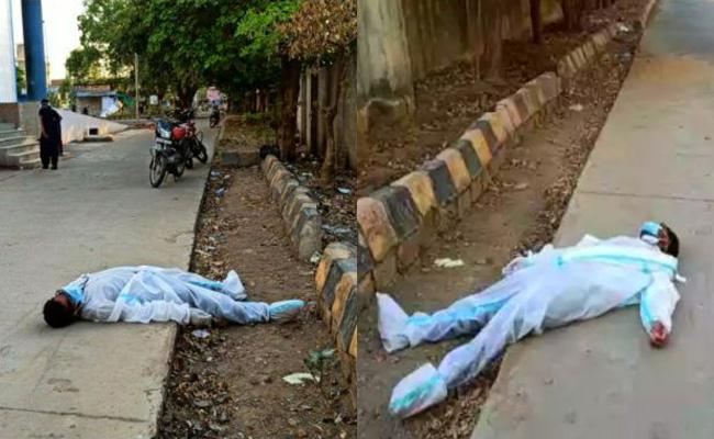 Corona Warrior Lying Unconscious On Road In Madhya Pradesh - Sakshi