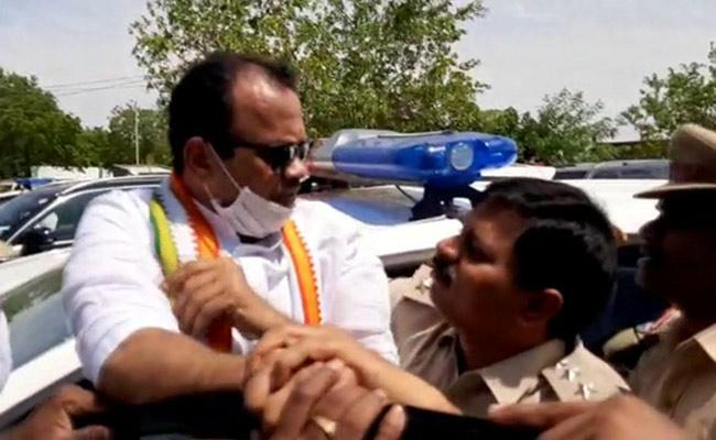 TS Congress Leaders Protest Over Police Arrest In Nalgonda - Sakshi