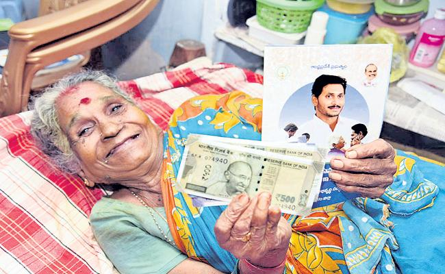 Above 96 percent pensions distribution in first-day  - Sakshi