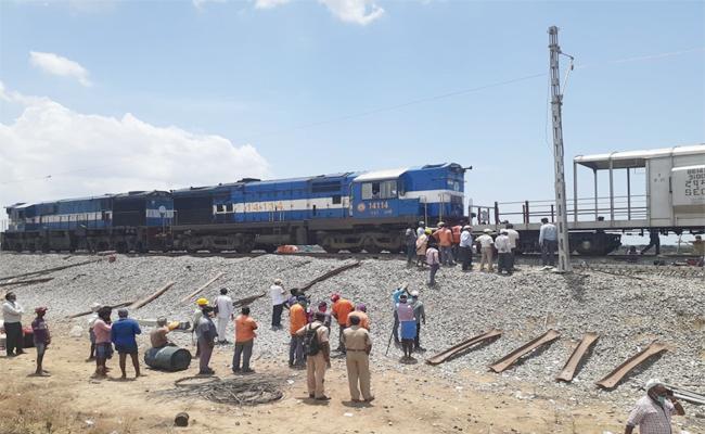 Oil Tanker Goods Train Fire Accident in Prakasam - Sakshi