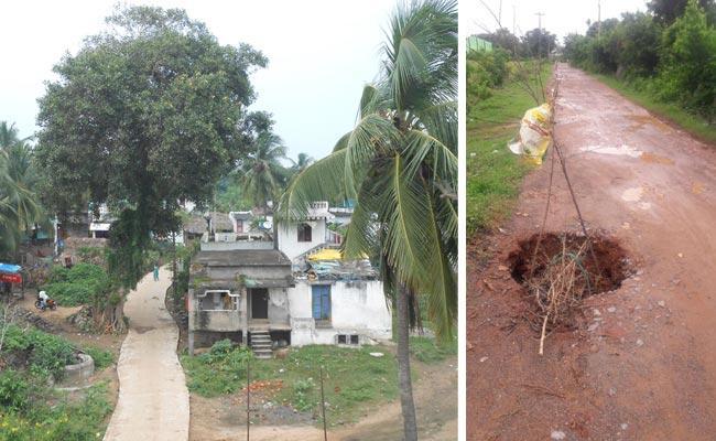 Suspicions On The Quality Of The Chandranna Bata CC Roads - Sakshi
