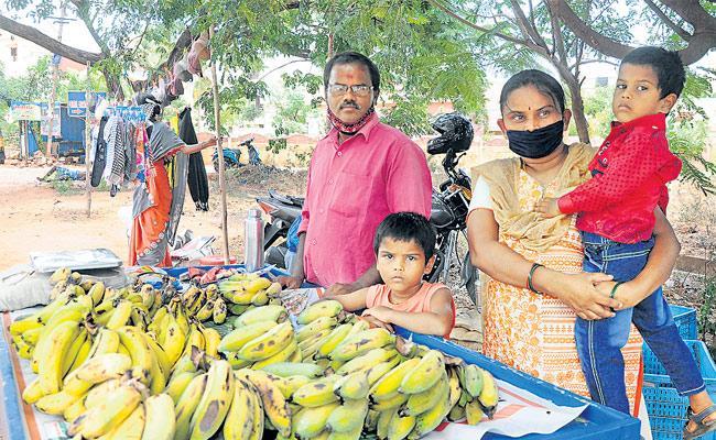 Corona Lockdown Effect: School Teacher Sells Bananas On The Road - Sakshi