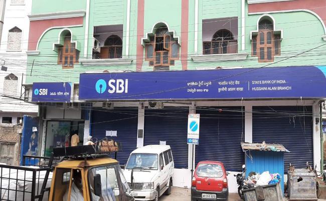 Hussaini Alam SBI Bank Shutdown Due To Coronavirus - Sakshi