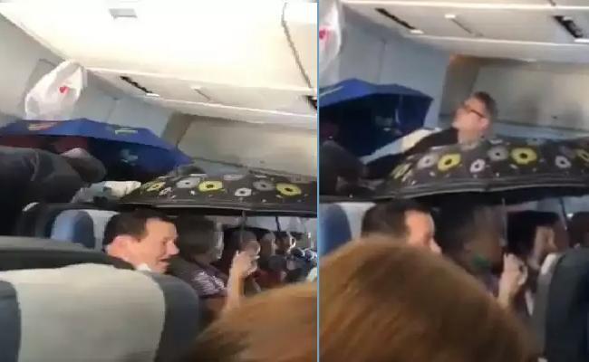 Passengers On Russian Flight Hold Up Umbrellas Video Goes Viral  - Sakshi