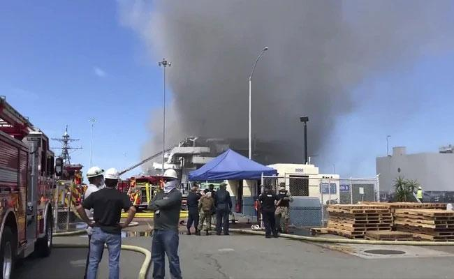Fire breaks Out At US Navy Ship In California - Sakshi