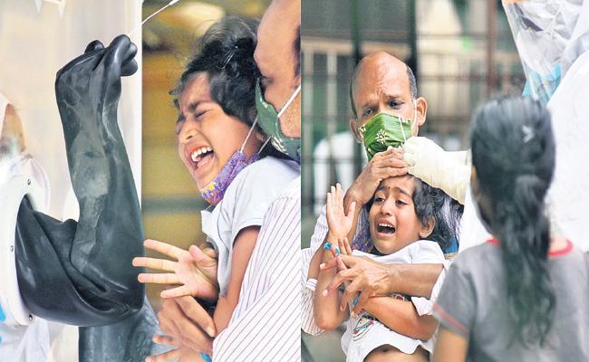 Hyderabad Girl Child Fear on COVID 19 Test - Sakshi