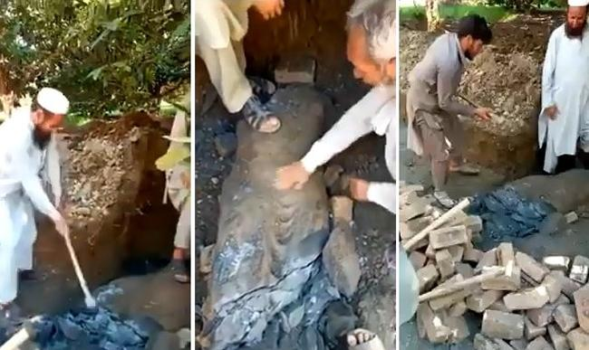 Buddha statue discovered in Pakistan demolished workers - Sakshi
