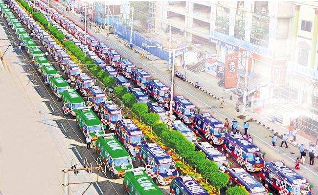 AP CM YS Jagan Inaugurated 108 And 104 Ambulance Vehicles - Sakshi