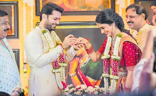 Nithin-Shalini engagement ceremony - Sakshi