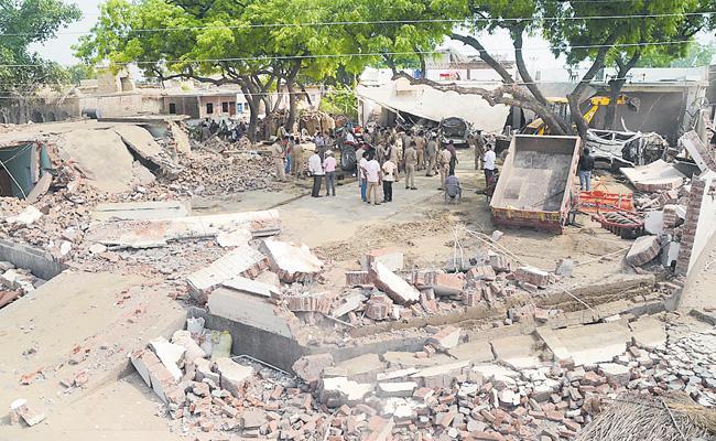 Gangster Vikas Dubey House Is Being Demolished - Sakshi