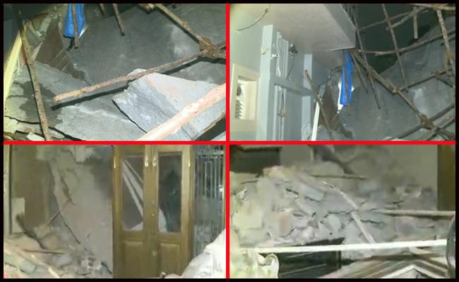 Stone slab Collapse On Home At jubilee hills - Sakshi