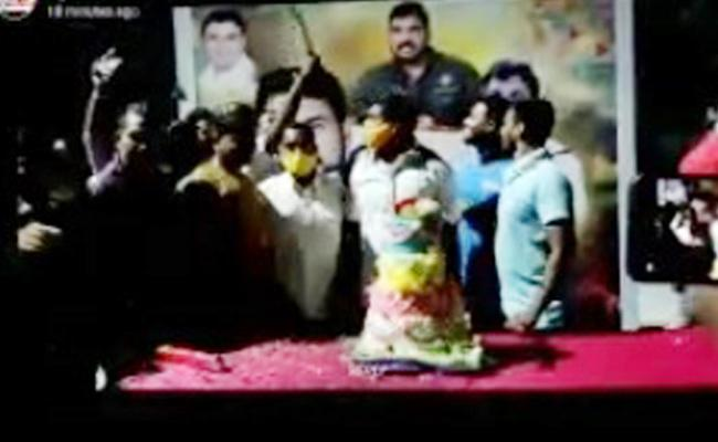 Midnight Birthday Parties on Roads Cake Cutting With Talwar - Sakshi
