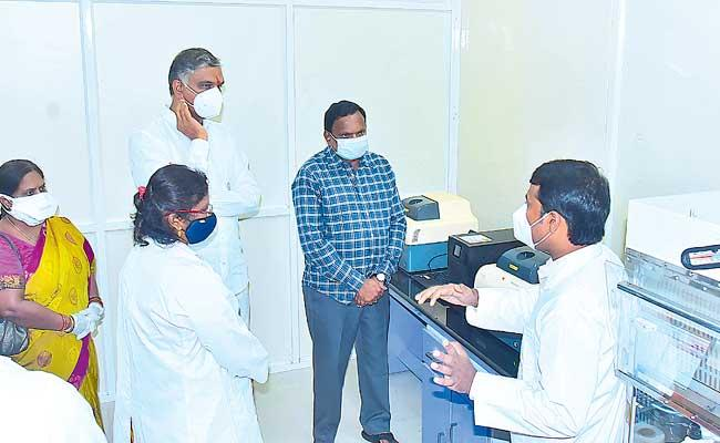 Covid Mobile Testing Vehicle And RTPCR Lab Launched By Harish Rao At Siddipet - Sakshi
