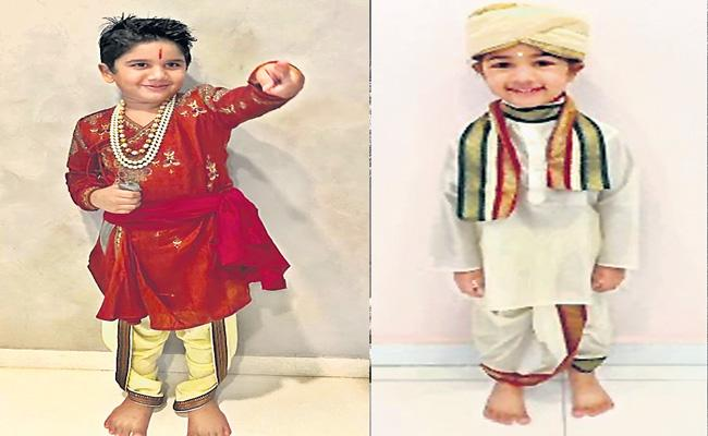 Allu Arjun Kids Rock In Special Getups On This Independence Day - Sakshi