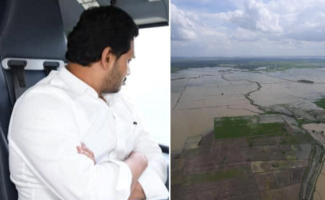 CM YS Jagan Aerial Survey In Godavari Flood Area - Sakshi