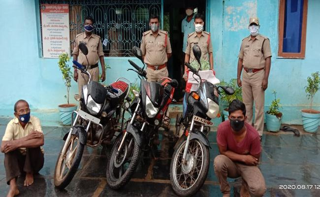 Father And Son Arrest in TVs And Bike Robbery Case Kurnool - Sakshi