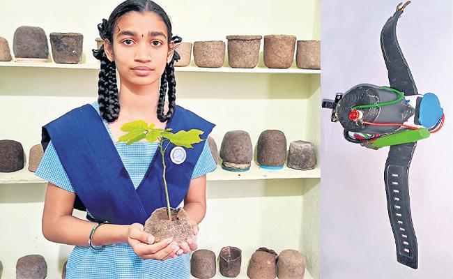 Ninth Class Student Srija Innovated COVID 19 Smart Watch - Sakshi