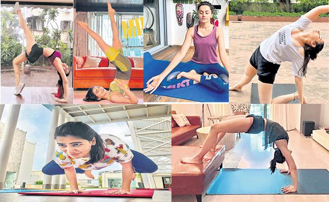 Tollywood actresses practice yoga during lockdown - Sakshi