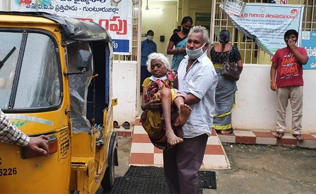 Old Woman Was Taken Home By Her Son - Sakshi