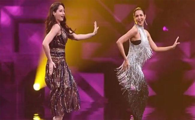 Viral video: Malaika Arora And Nora Fatehi Dance on Munni Badnaam Song - Sakshi