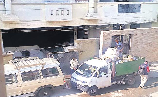 GHMC Dumping COVID 19 Scrap in Public Hyderabad - Sakshi
