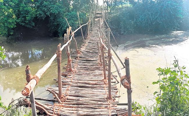 Farmers Constructed Wooden Bridge In Parigi - Sakshi
