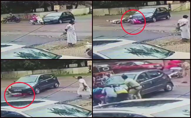 Car Hits Woman And Rolled Over Her At Mangalore In Karnataka - Sakshi