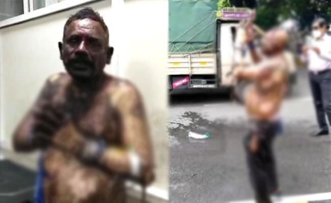 Unknown Man Attempts Suicide Near Ravindra Bharathi - Sakshi