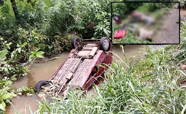 Three People Deceased In Car Roll Over In West Godavari District - Sakshi