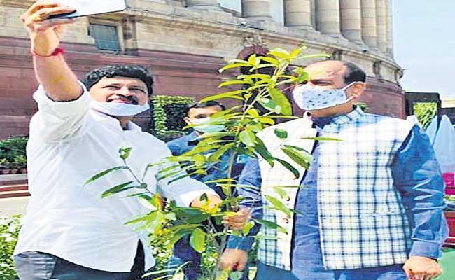 Green India Challenge At Parliament - Sakshi