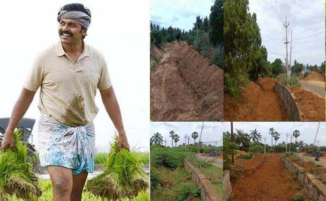 Karthi Help Farmers Repairing Water Canal In Tamil Nadu - Sakshi