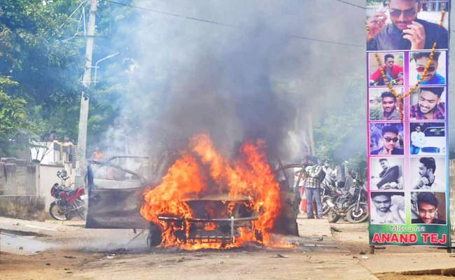 Raghunadhapalem Village Attack On Corporator And Burned His Fortune Car In Khammam - Sakshi