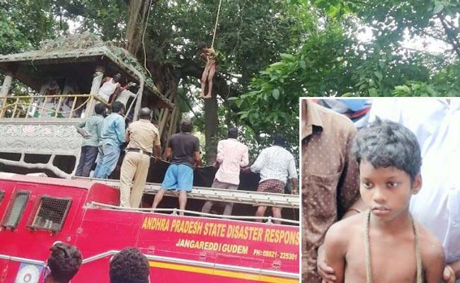 Boy Climbed Tree And Made Hul chul In West Godavari - Sakshi
